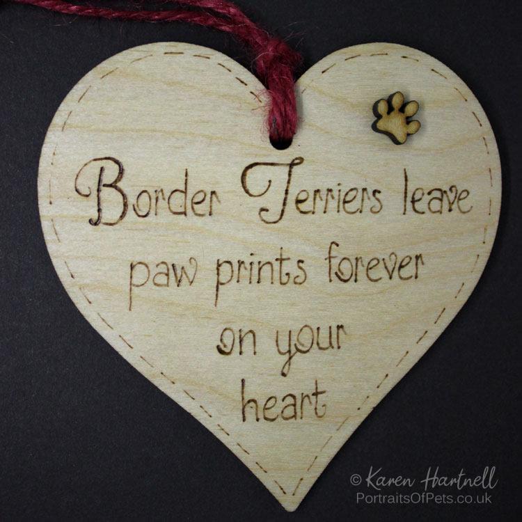 Border Terriers heart plaque