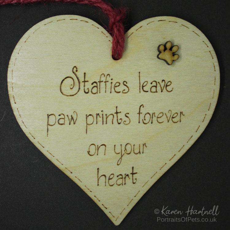 Staffies heart plaque