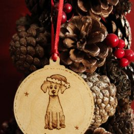 Christmas hanging bauble, wood burn