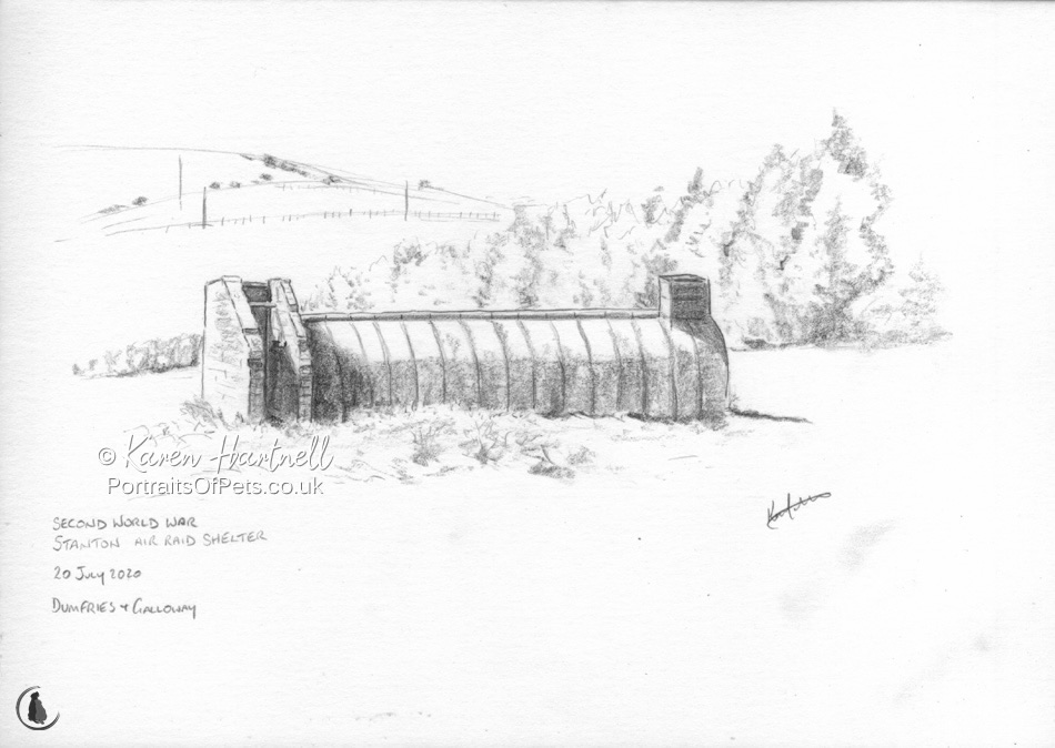 Pencil sketch of Stanton Air Raid Shelter