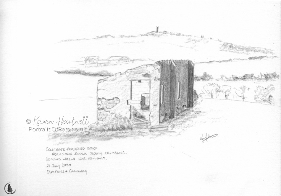 Pencil sketch of Second World War building ruins